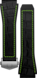 Armband aus schwarzem Kautschuk mit grünen Akzenten