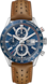 TAG Heuer Carrera Brown Leather Steel Blue