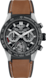 TAG HEUER CARRERA Brown Rubber and Leather Titanium & Ceramic Black