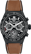 TAG HEUER CARRERA Brown Rubber and Leather Ceramic Black