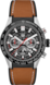 TAG HEUER CARRERA Brown Rubber Leather Steel & Ceramic Black